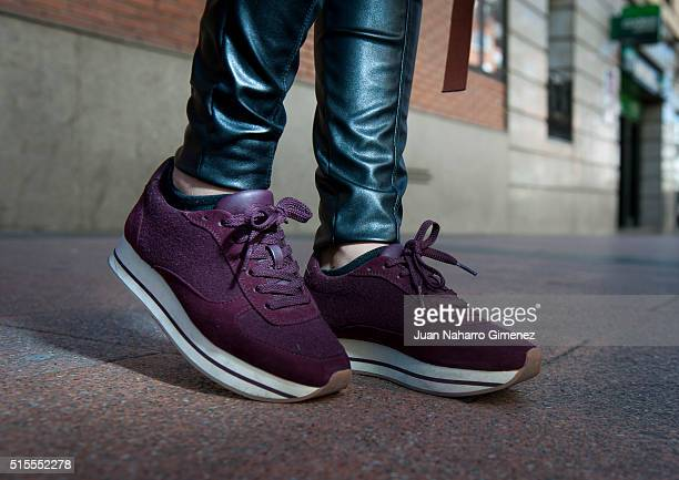 Carolina wears ZARA sneakers Color Blue trousers Ivanka Trump sweater BDB jaquect and Longchamp hanbag on March 14 2016 in Madrid Spain
