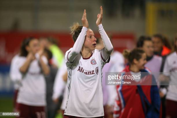 Caroline Abbe of Bayern and team mates celebrate after the UEFA women's champions league quarter finals at Stadion an der Gruenwalder Strassee on...