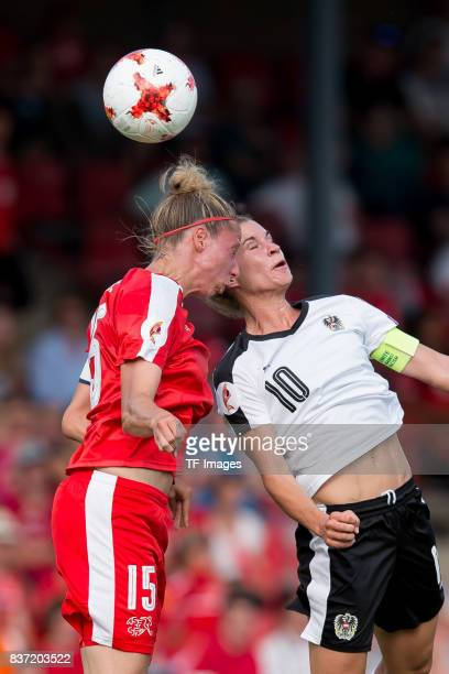Caroline Abbe of Switzerland and Nina Burger of Austria battle for the ball during the Group C match between Austria and Switzerland during the UEFA...