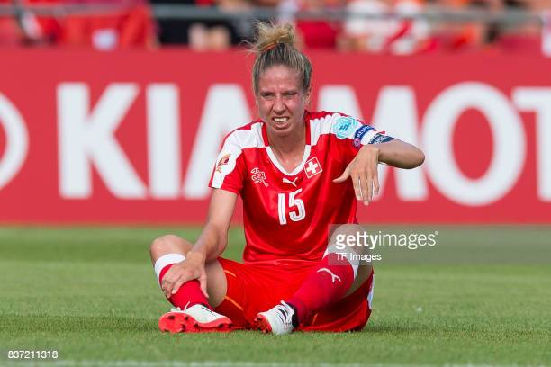 Caroline Abbe of Switzerland on he ground during the Group C match between Austria and Switzerland during the UEFA Women's Euro 2017 at Stadion De...