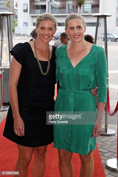 Caroline and Georgina EversSwindell arrive at the 2016 Halberg Awards at Vector Arena on February 18 2016 in Auckland New Zealand