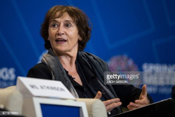 Caroline Atkinson Google Inc Head of Global Public Policy speaks during a panel discussion on the effects of digitalization and technology on fiscal...