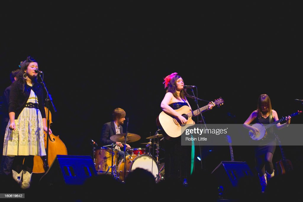Caroline Ballhorn and Frazey Ford and Trish Klein of The Be Good Tanyas perform on stage at Barbican Centre on February 3, 2013 in London, England.
