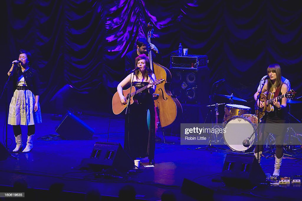 Caroline Ballhorn, Frazey Ford and Trish Klein of The Be Good Tanyas perform on stage at Barbican Centre on February 3, 2013 in London, England.