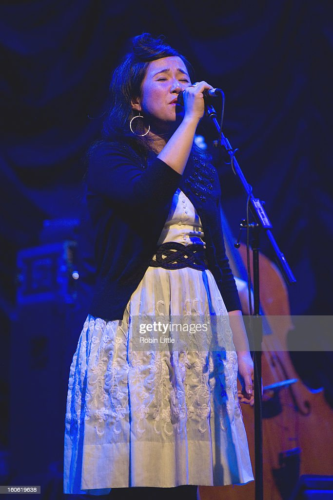 Caroline Ballhorn of The Be Good Tanyas performs on stage at Barbican Centre on February 3, 2013 in London, England.