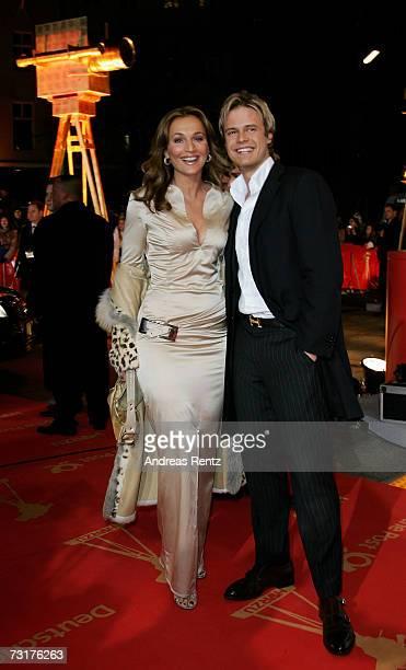 Caroline Beil and Pete Dwojak arrive at the 42nd Goldene Kamera Award at the UllsteinArena on February 1 2007 in Berlin Germany