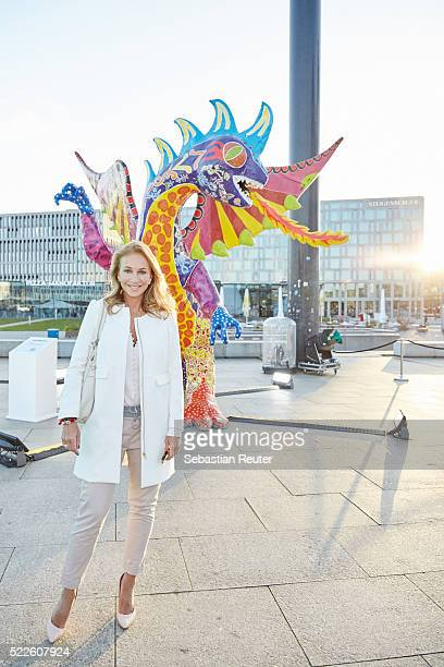 Caroline Beil is seen during the interactive exhibition 'Discover Mexico' at Washingtonplatz on April 20 2016 in Berlin Germany The exhibition...