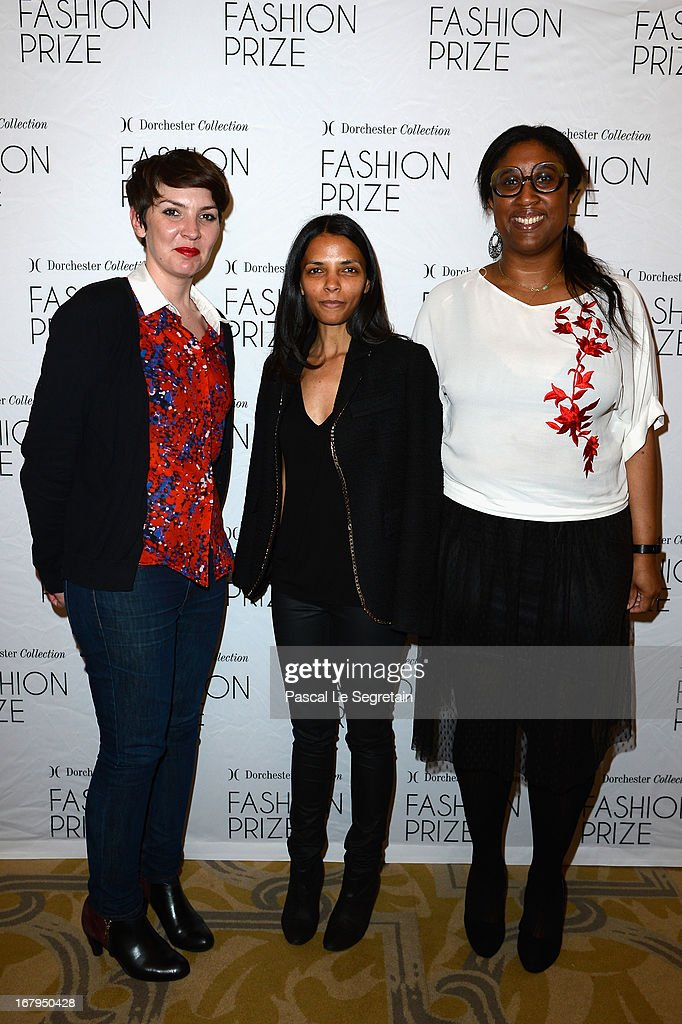 Caroline Bonnet (L), Francesca Prianon and Marie Odile Radom (R) attend the 2013 Launch of the Dorchester Collection Fashion Prize 2013 at Hotel Plaza Athenee on May 3, 2013 in Paris, France.