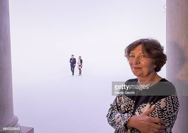 Caroline Bourgeois curator for Palazo Grassi poses for a picture in front of the installation by Doug Wheeler at Palazzo Grassi on April 11 2014 in...