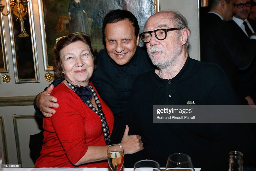 Caroline Bourgeois, fashion designer Azzedine Alaia and Artist <a gi-track='captionPersonalityLinkClicked' href=/galleries/search?phrase=Paul+McCarthy+-+Artista&family=editorial&specificpeople=13704720 ng-click='$event.stopPropagation()'>Paul McCarthy</a> attend the Monnaie De Paris : Reopening Party with Opening of the McCarthy Exhibition - Dinner at Restaurant Laperouse, on October 23, 2014 in Paris, France.