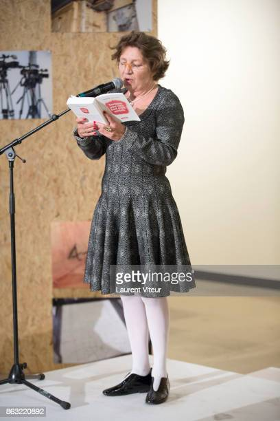 Caroline Bourgeois reads 'Tombeau pour Cinq Cent Mille Soldats' for 50th anniversary of the book at Azzedine Alaia Gallery on October 19 2017 in...