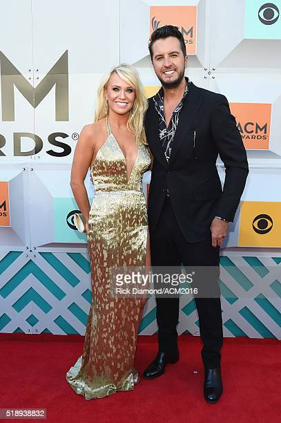 Caroline Boyer and cohost Luke Bryan attend the 51st Academy of Country Music Awards at MGM Grand Garden Arena on April 3 2016 in Las Vegas Nevada