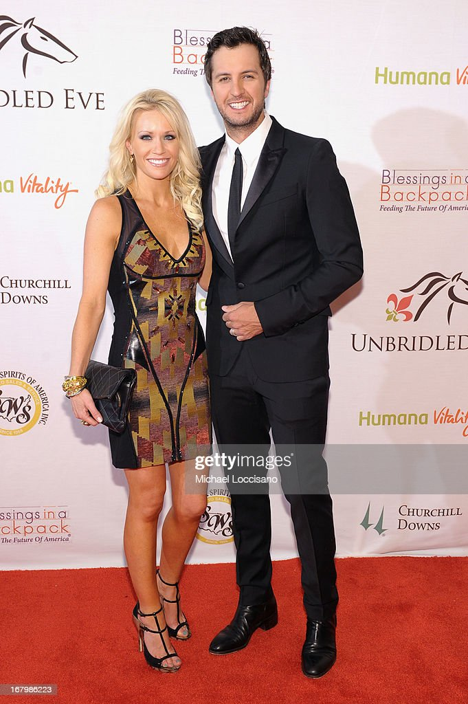 Caroline Boyer and Luke Bryan attend the Unbridled Eve Gala for the 139th Kentucky Derby at The Galt House Hotel & Suites' Grand Ballroom on May 3, 2013 in Louisville, Kentucky.