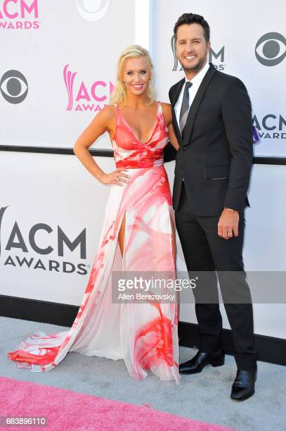 Caroline Boyer and recording artist/cohost Luke Bryan arrive at the 52nd Academy Of Country Music Awards on April 2 2017 in Las Vegas Nevada