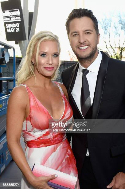 Caroline Boyer and recording artist/cohost Luke Bryan attend the 52nd Academy Of Country Music Awards at TMobile Arena on April 2 2017 in Las Vegas...