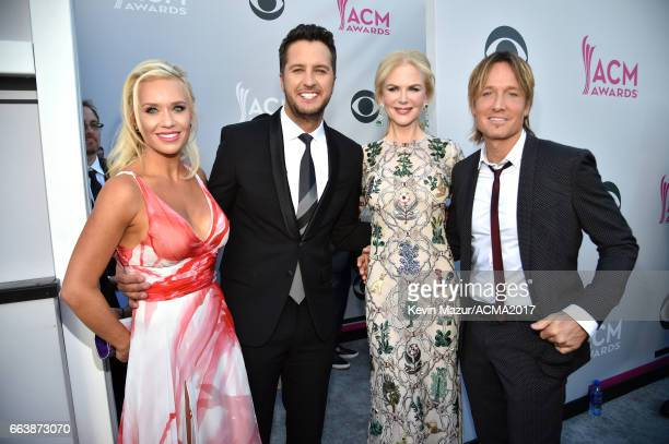 Caroline Boyer cohost Luke Bryan actor Nicole Kidman and recording artist Keith Urban attend the 52nd Academy Of Country Music Awards at Toshiba...