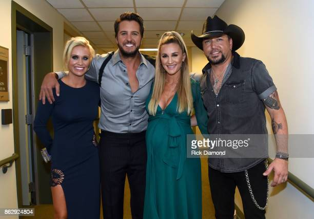 Caroline Boyer Honoree Luke Bryan Honoree Jason Aldean and Brittany Kerr backstage at the 2017 CMT Artists Of The Year on October 18 2017 in...
