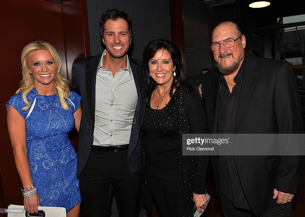 Caroline Bryan, Recording Artist Luke Bryan, Angel Cropper and Recording Artist Steve Cropper attend the 14th annual T.J. Martell Foundation Nashville Best Cellars dinner at the Bridge Building on April 29, 2013 in Nashville, Tennessee.