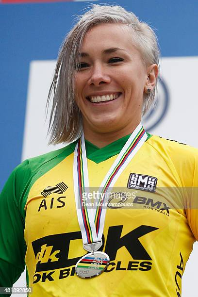 Caroline Buchanan of Australia celebrates with her silver medal on the podium after the Women Elite motos race during day 5 of the UCI BMX World...