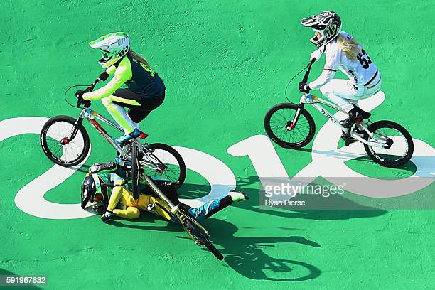 Caroline Buchanan of Australia crashes out during the Women's Semi Finals on day 14 of the Rio 2016 Olympic Games at the Olympic BMX Centre on August...