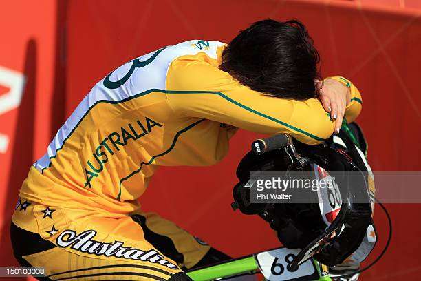 Caroline Buchanan of Australia is dejected after the Women's BMX Cycling Final on Day 14 of the London 2012 Olympic Games at the BMX Track on August...