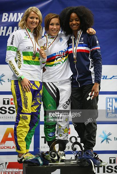 Caroline Buchanan of Australia Lauren Reynolds of Australia and Manon Valentino of France stand on the podium folllwing the Womens Elite Final during...
