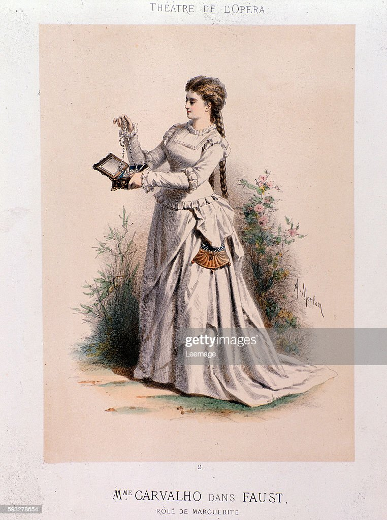 Caroline Carvalho french soprano performing Margherita in 'Faust' by Charles Gounod 1875