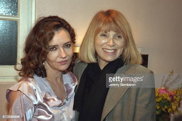 Caroline Cellier in her dressing room at the Eldorado Theater with Mireille Darc