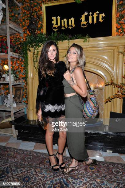 Caroline D'Amore and Paris Jackson at UGG x Jeremy Scott Collaboration Launch Event at The hwood Group's 'Poppy' on August 27 2017 in West Hollywood...