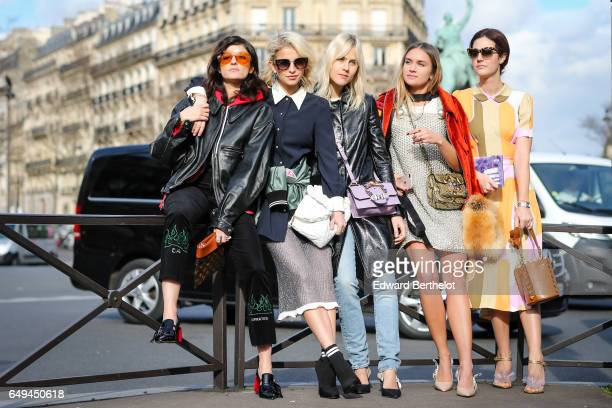 Caroline Daur and Linda Tol are seen outside the Miu Miu show during Paris Fashion Week Womenswear Fall/Winter 2017/2018 on March 7 2017 in Paris...
