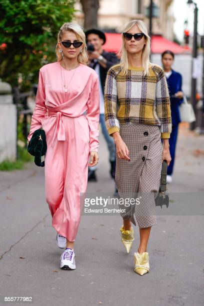 Caroline Daur and Linda Tol outside Issey Miyake during Paris Fashion Week Womenswear Spring/Summer 2018 on September 29 2017 in Paris France