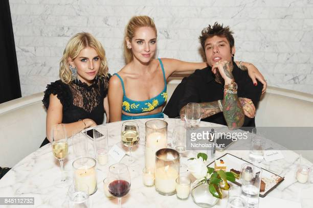 Caroline Daur Chiara Ferragni and Fedez attends the #BoF500 party during New York Fashion Week Spring/Summer 2018 at Public Hotel on September 9 2017...