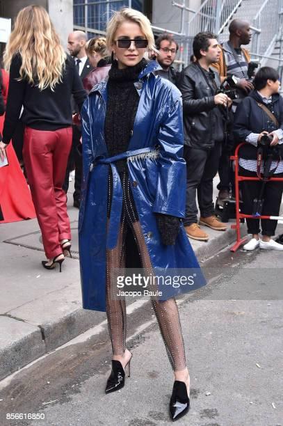 Caroline Daur is seen arriving at Giambattista Valli show during Paris Fashion Week on October 2 2017 in Paris France