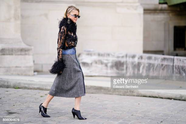 Caroline Daur is seen outside Elie Saab during Paris Fashion Week Womenswear Spring/Summer 2018 on September 30 2017 in Paris France