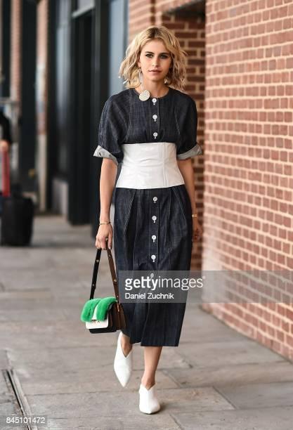 Caroline Daur is seen wearing a Tibi dress outside the Tibi show during New York Fashion Week Women's S/S 2018 on September 9 2017 in New York City