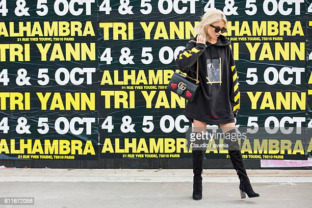 Caroline Daur poses after the Issey Miyake show on day 4 of Paris Womens Fashion Week Spring/Summer 2017Êon September 30 2016 in Paris France