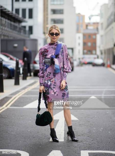 Caroline Daur wearing dress Miu Miu bag outside Erdem during London Fashion Week September 2017 on September 18 2017 in London England