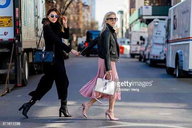 Caroline Daur wearing heels Poi Lei jacket Editedt pink skirt Asos white Yves Saint Laurent bag and model Stefanie Giesinger wearing jacket top and...