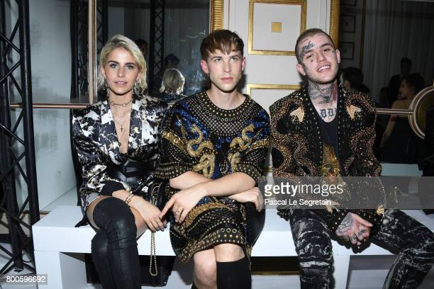 Caroline DaurTommy Dorfmann and Lil Peep attend the Balmain Menswear Spring/Summer 2018 show as part of Paris Fashion Week on June 24 2017 in Paris...