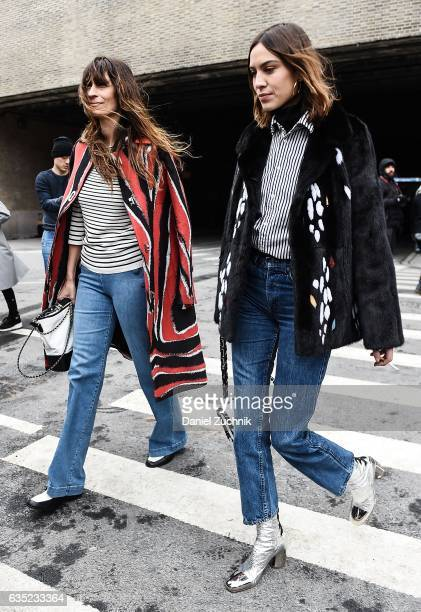 Caroline de Maigret and Alexa Chung are seen outside of the Proenza Schouler show during New York Fashion Week Women's Fall/Winter 2017 on February...