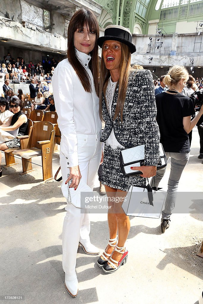 Caroline de Maigret and Anna Dello Russo attend the Chanel show as part of Paris Fashion Week Haute-Couture Fall/Winter 2013-2014 at Grand Palais on July 2, 2013 in Paris, France.