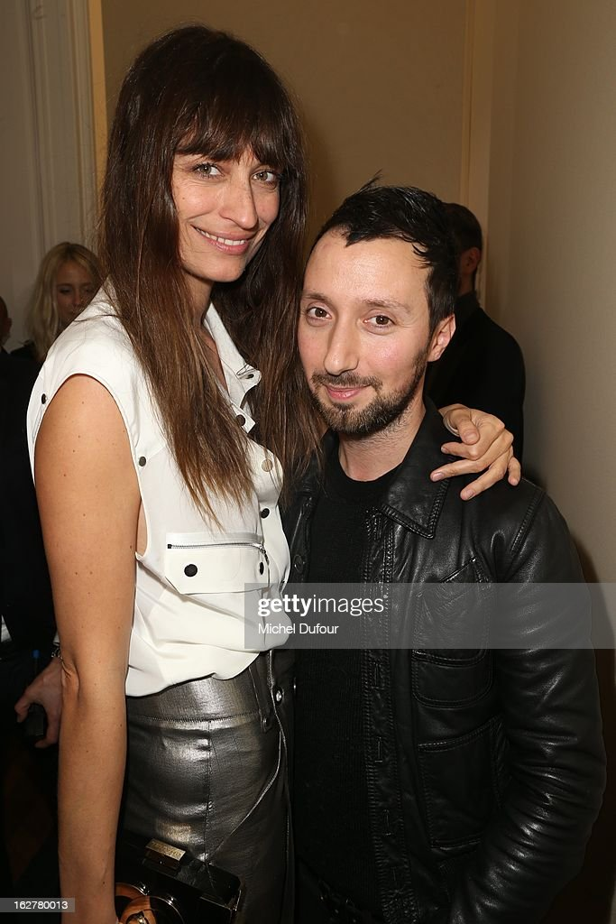 Caroline de Maigret and Anthony Vaccarello attend the Anthony Vaccarello Fall/Winter 2013 Ready-to-Wear show as part of Paris Fashion Week on February 26, 2013 in Paris, France.
