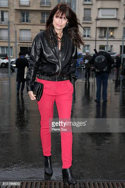 Caroline de Maigret arrives at the Anthony Vaccarello show as part of the Paris Fashion Week Womenswear Fall/Winter 2016/2017 on March 1 2016 in...