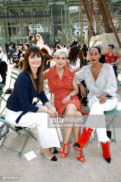 Caroline de Maigret Melita Toscan du Plantier and Tracee Ellis Ross daughter of Diana Ross attend the Chanel Haute Couture Fall/Winter 20172018 show...