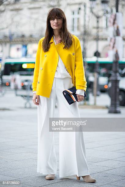 Caroline De Maigret poses before the Isabel Marant show at Place Colette during Paris Fashion Week FW 16/17 on March 4 2016 in Paris France
