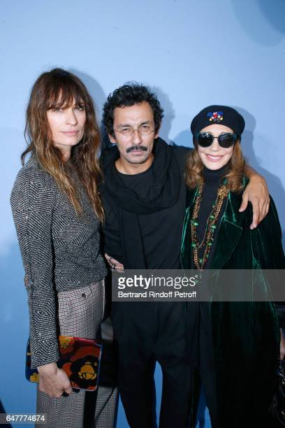 Caroline de Maigret Stylist Haider Ackermann and Marisa Berenson pose backstage after the Haider Ackermann show as part of the Paris Fashion Week...