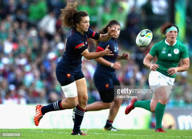 Caroline Dourin of France in action during the Women's Rugby World Cup Pool C match between France and Ireland at UCD Bowl on August 17 2017 in...