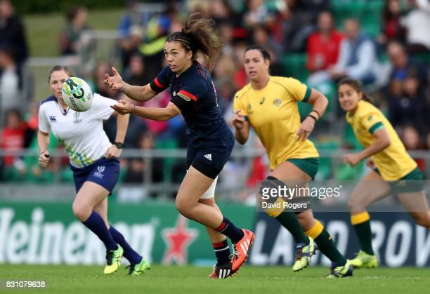 Caroline Drouin of France passes during the Women's Rugby World Cup 2017 match between France and Australia on August 13 2017 in Dublin Ireland