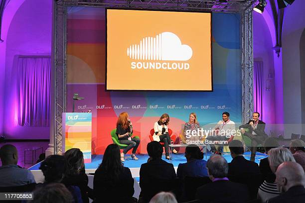 Caroline Drucker of SoundcloudKatie McMohan of SoundHound Kathryn Moreadith of UJAM Shakil Khan of Spotify and DLD founder Marcel Reichart attend the...