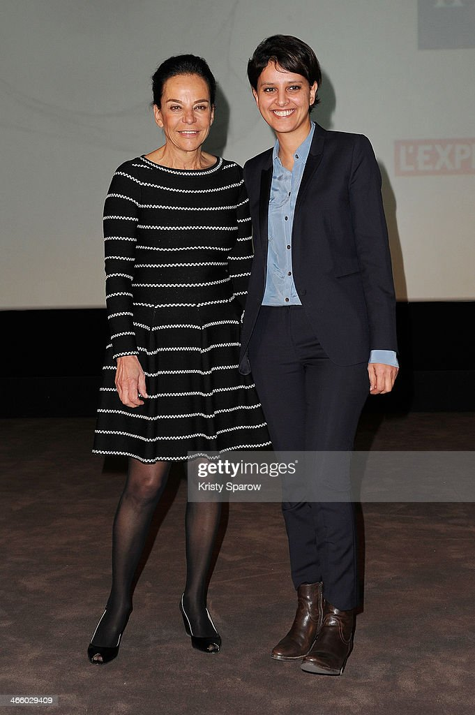 Caroline Eliacheff and Najat Vallaud-Belkacem attend the 'Francoise Giroud' Award Ceremony at the MK2 Bibliotheque on January 30, 2014 in Paris, France.